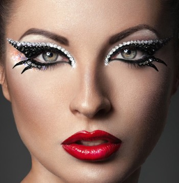 A woman's face with make-up