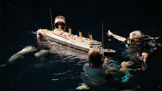 The film crew on he set of Titanic filming the sinking.