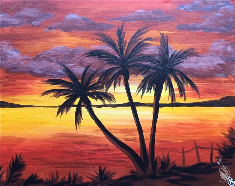 A painting of a sunset on a beach with palm trees on it.