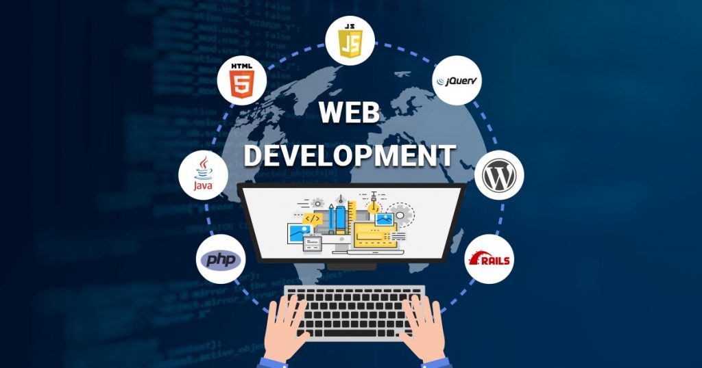 A poster written WEB DEVELOPMENT with icons representing different tools for web development