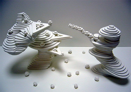 A three-dimensional artistic abstract sculpture