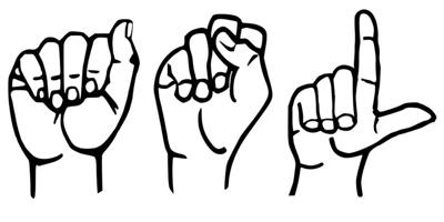 hands that are using sign language to spell out ASL that stands for American Sign Language.