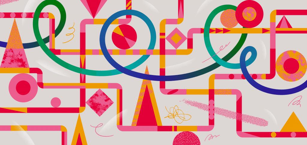 A colorful printed design