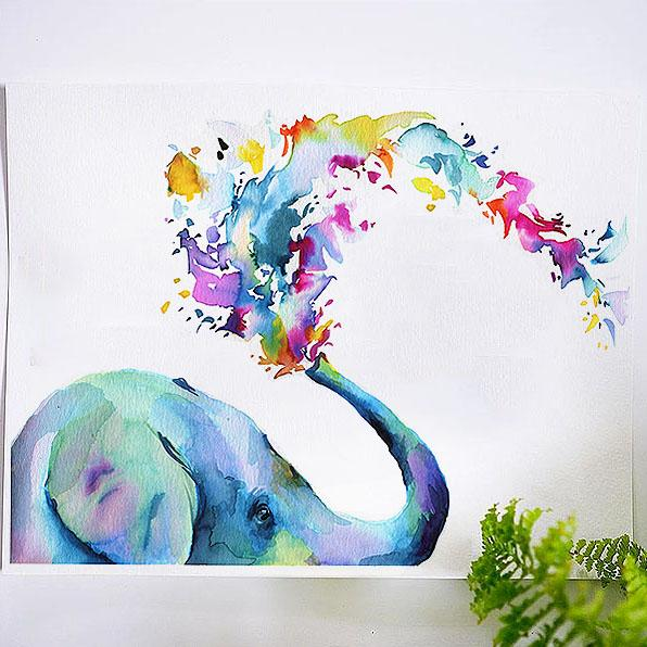 A watercolor painting of an elephant with colourful water coming out of trunk