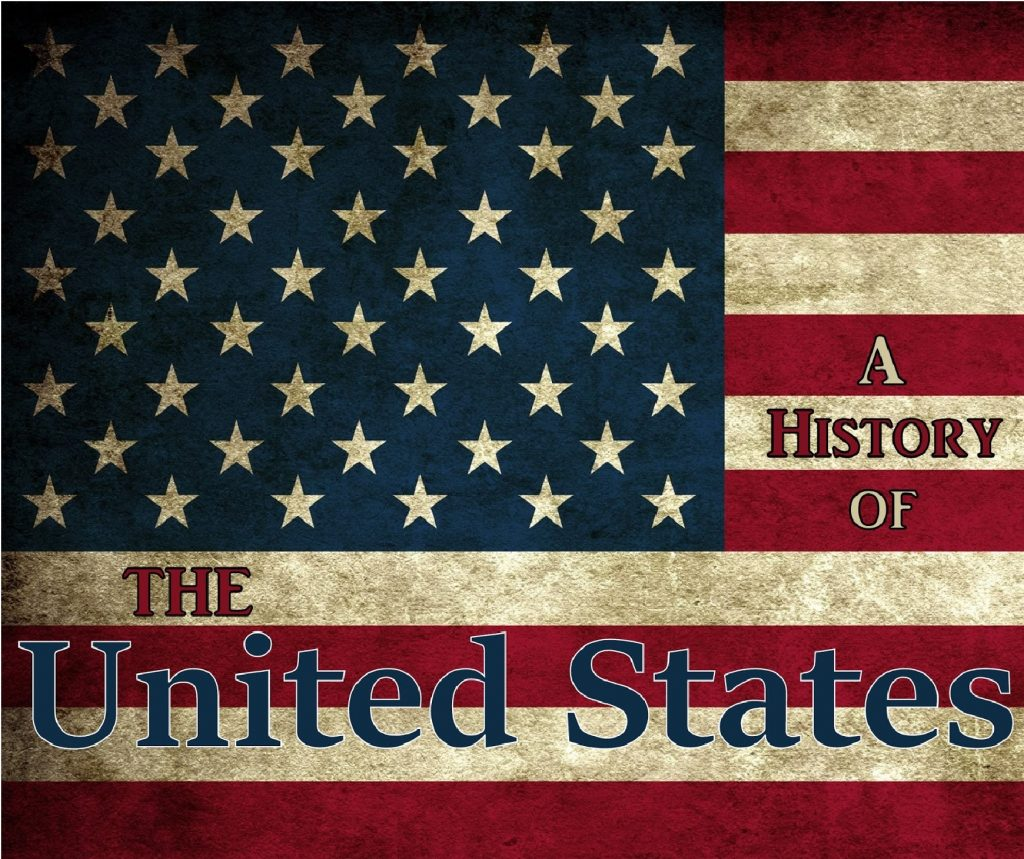 """An USA flag with the words """"A HISTORY OF THE United States"""" written on it"""
