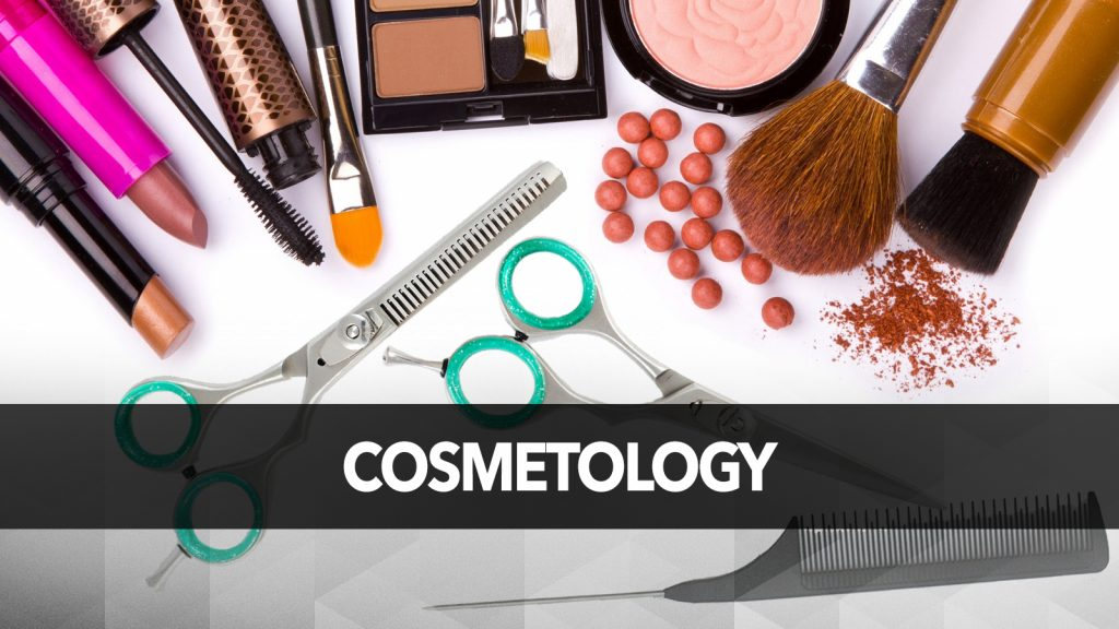 Several cosmetology tools on a white surface