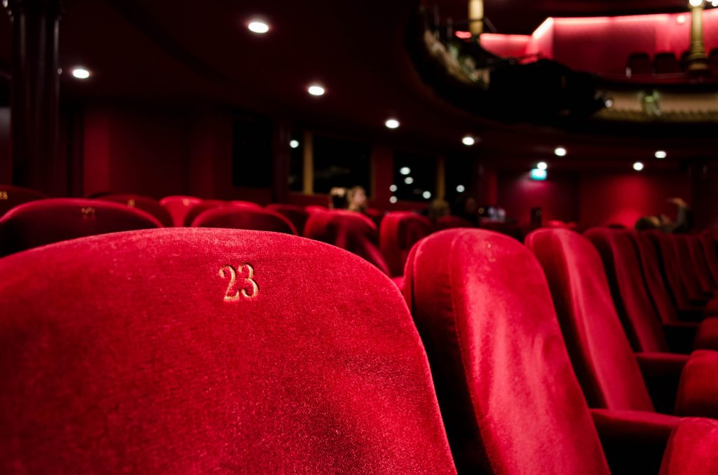 row of theater seats in an entertainment or music hall