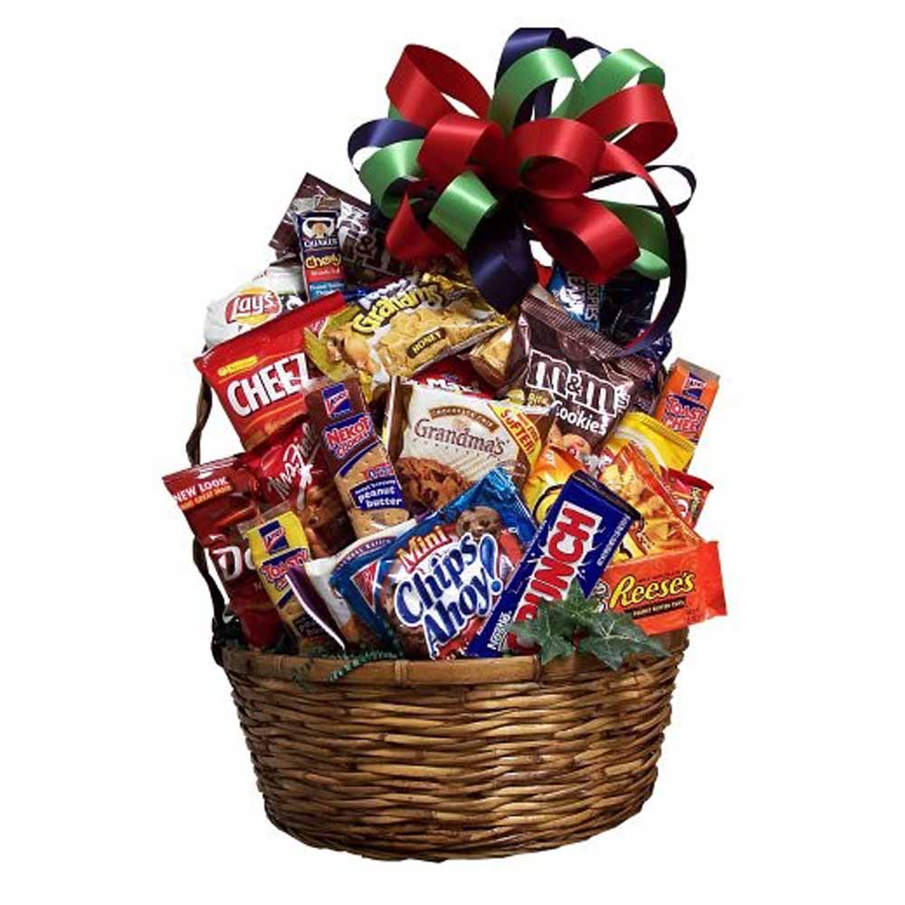 a food and candy snack basket
