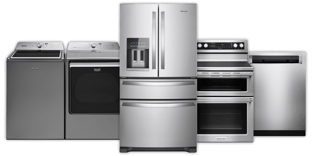 5 stainless steel appliances: washer, dryer, fridge, stove, oven, dishwasher