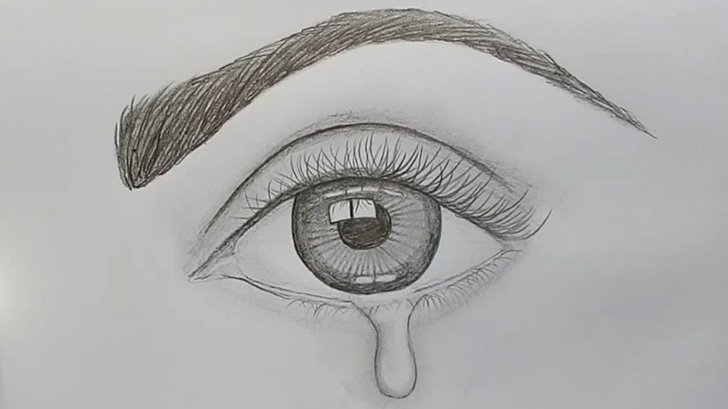 The human eye drawn on a paper