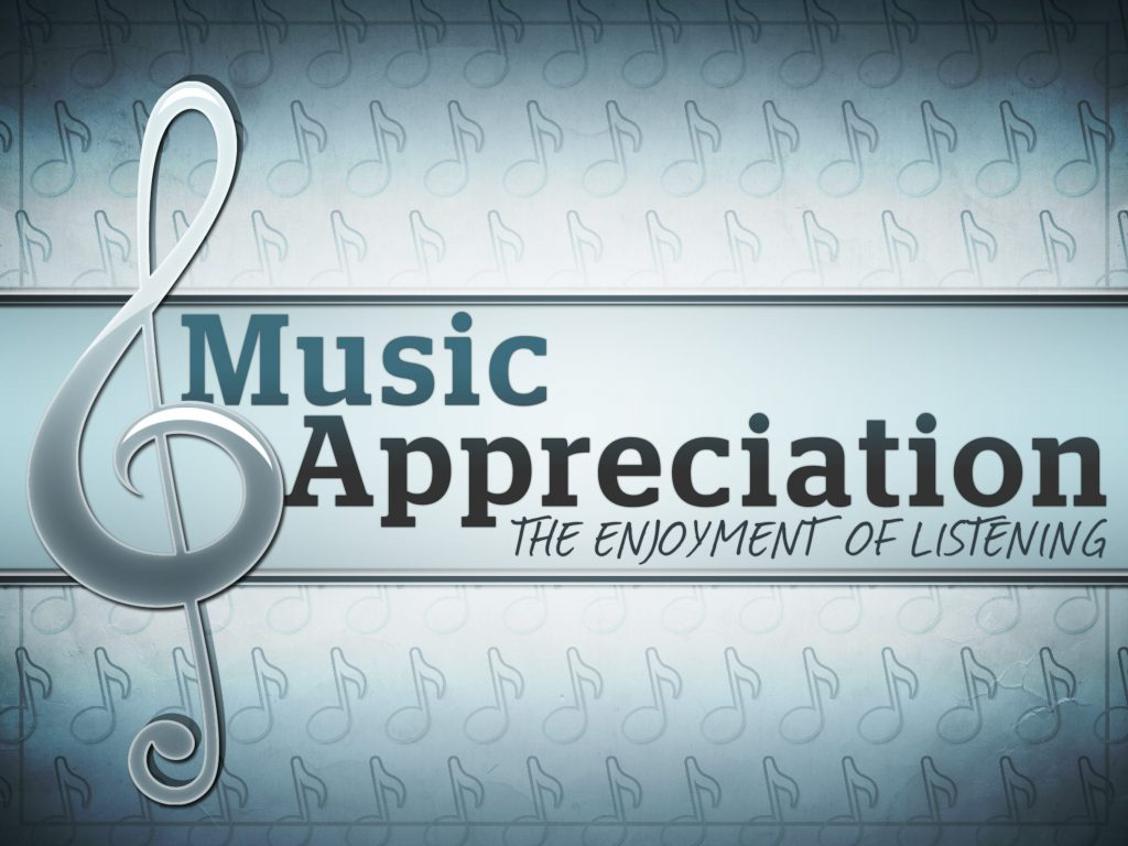 """A poster with  a music G clef written """"Music Appreciation"""""""