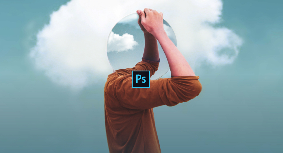 a photoshop work with a person's head in the clouds as he holds a mirror