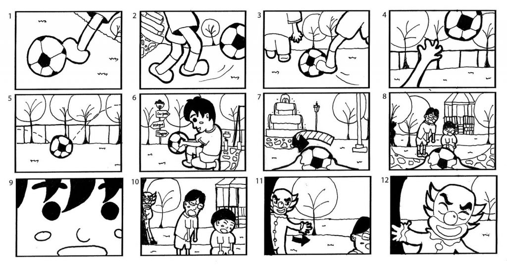 A storyboard of a boy who is kicking a soccer ball.