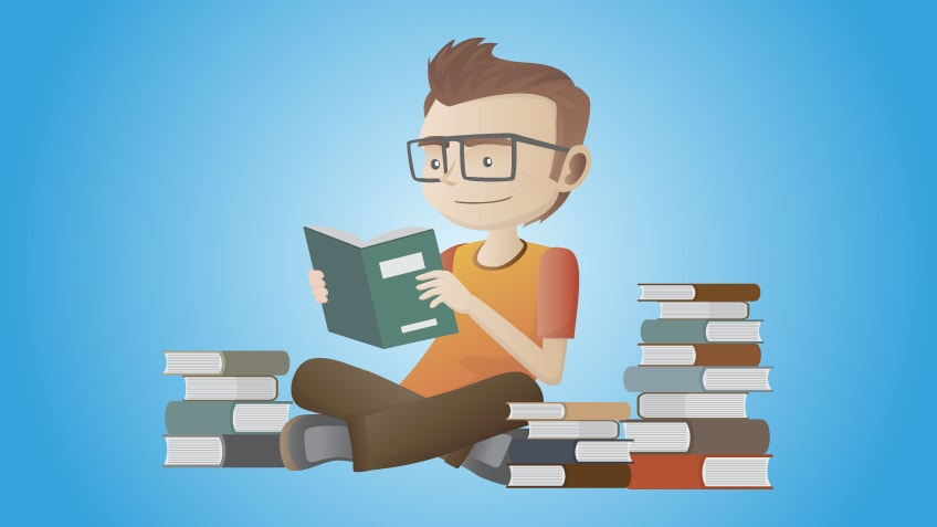 cartoon of someone studying by read books