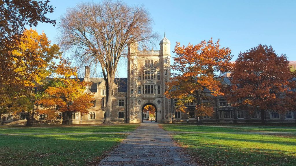 university of michigan campus during the fall