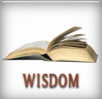 """An open book with the word """"WISDOM"""" written below it"""