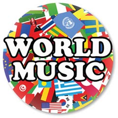A circle with various flags of countries across the globe written WORLD MUSIC
