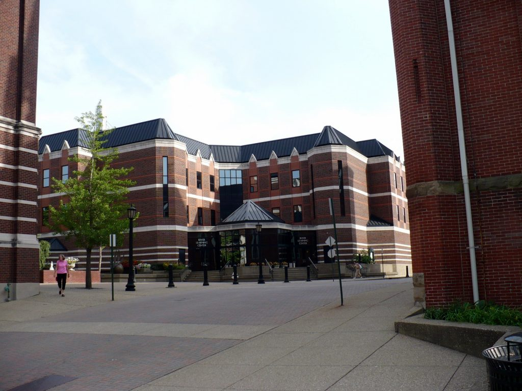 The brown building of Bayer Learning Center.