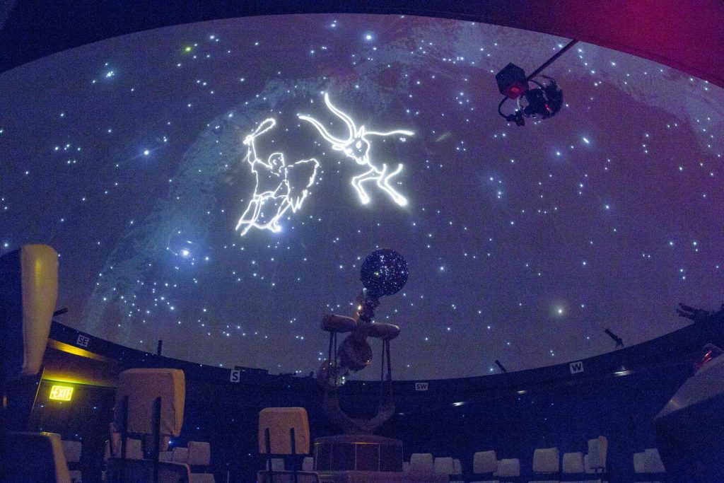 spitz projector showing constellations on planetarium ceiling