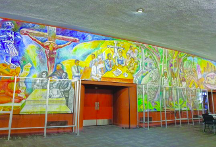 The famous mural housed in Ingalls Auditorium.