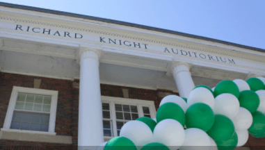 Front entrance of the Richard Knight Auditorium.