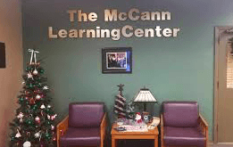 The main lobby for the McCann Learning Center located in Cramblet Hall.
