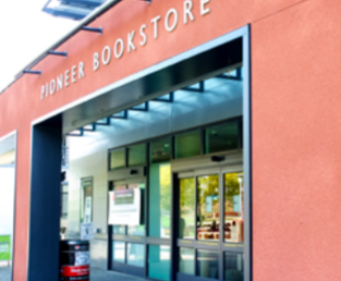 The main entrance to the Pioneer Bookstore.