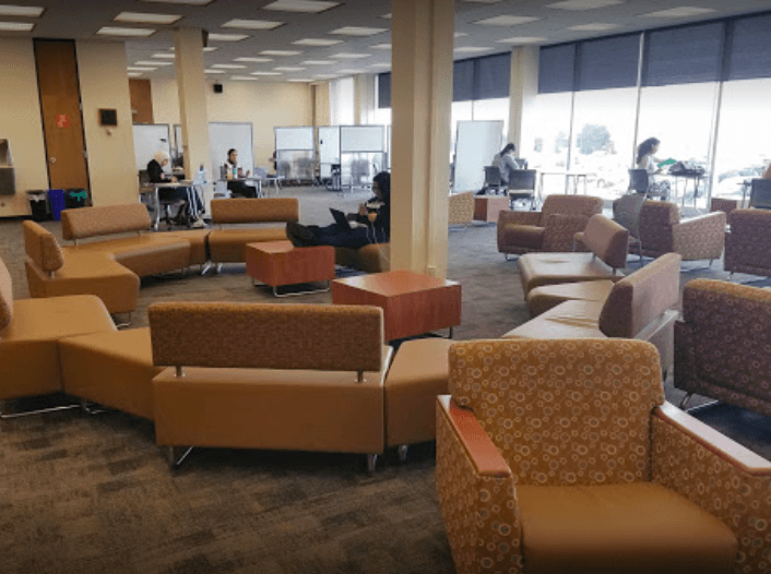 A view of one of the many study spots in the library.
