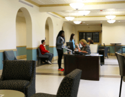 Lobby of Becht Hall where students can be directed to many different resources.