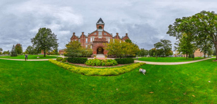 View of the entrance to Old Main.