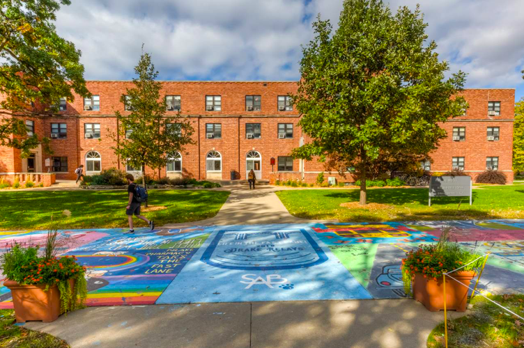 Olmsted Student Center behind the famous Painted Street.