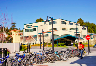 Many students park their bikes right outside of this building.