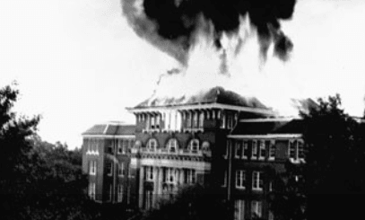 The 1948 fire at Lee Hall.
