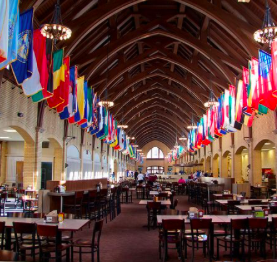 Inside the beautiful cafeteria.