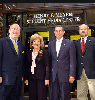 Outside of the Student Media Center when it was dedicated to the Meyer family.