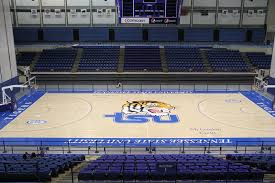 Interior of Gentry Center with aa court and their mascot painted in the middle surrounded by stadium seats.