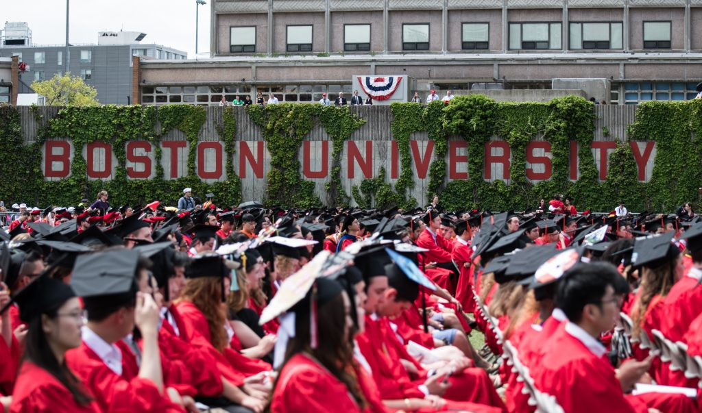 students at boston university commencement