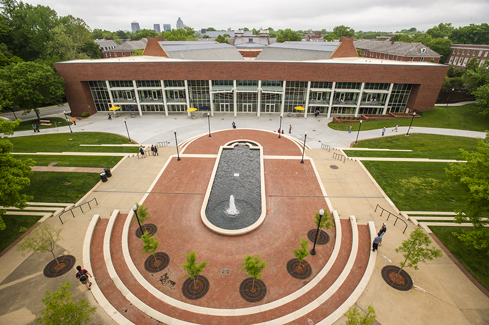 An elevated view of the Moran Commons and Plaza