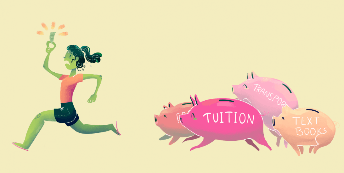cartoon female student running away from piggy banks that are labeled with student expenses such as tuition, text books, etc.