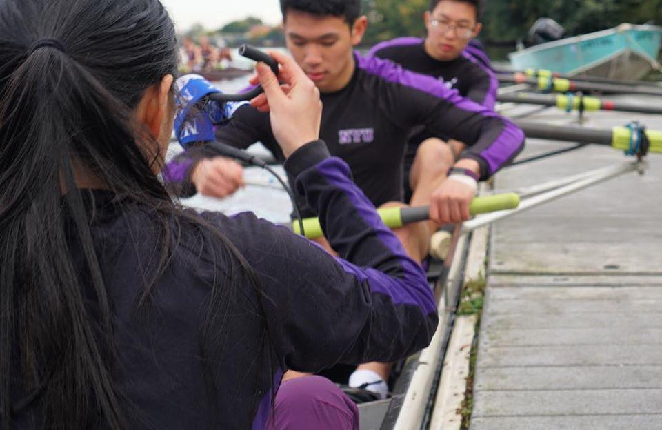 Members of the NYU rowing team practicing
