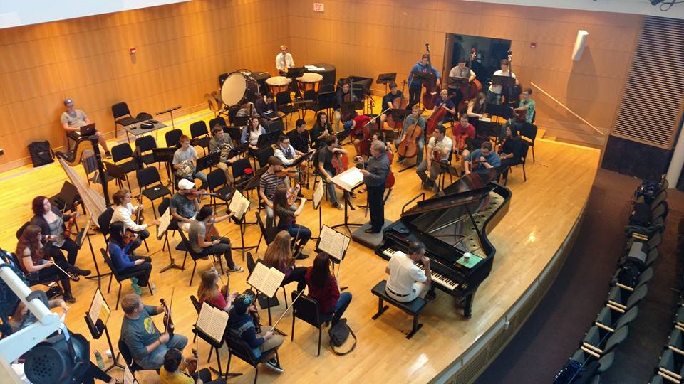 the orchestra practicing in the Ophelia Parrish