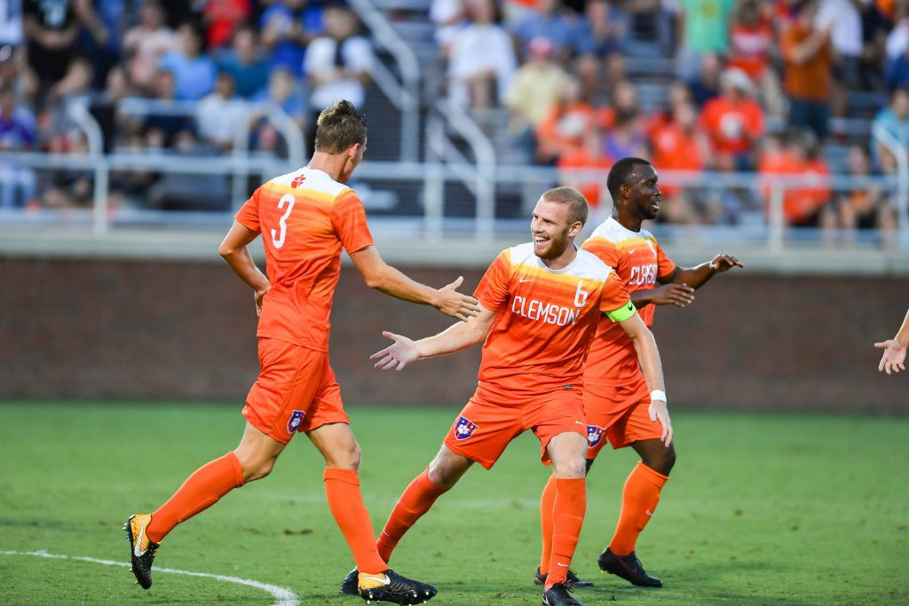 Clemson soccer team playing a game