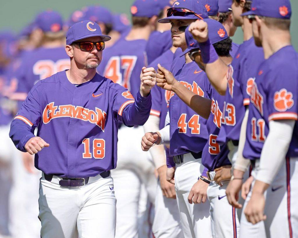 The Clemson University baseball team and coach