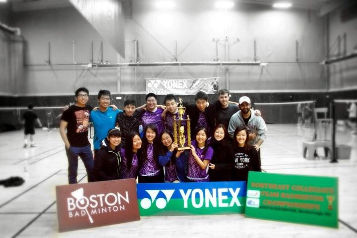 The NYU badminton team posing for a photo