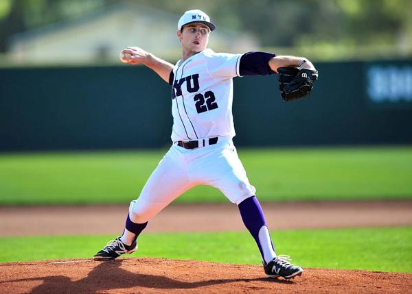 A baseball player ready to pitch