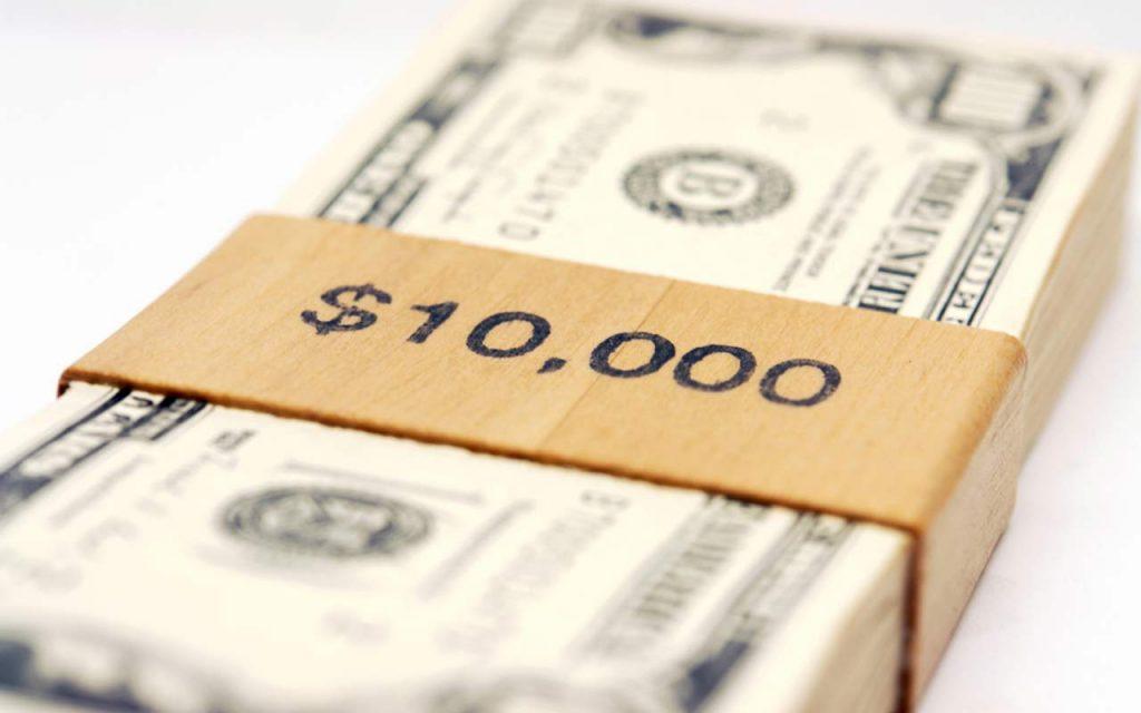 $10,000 cash