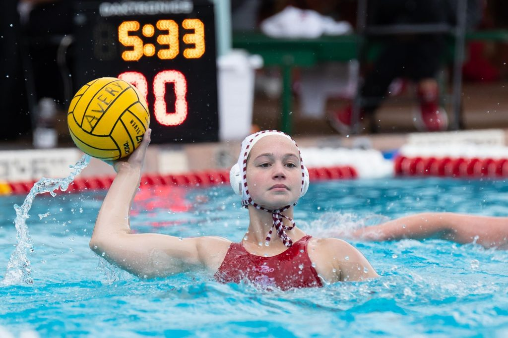 A woman on the IU water polo team