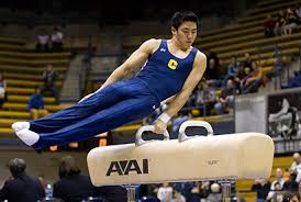 a gymnastic student on the beam