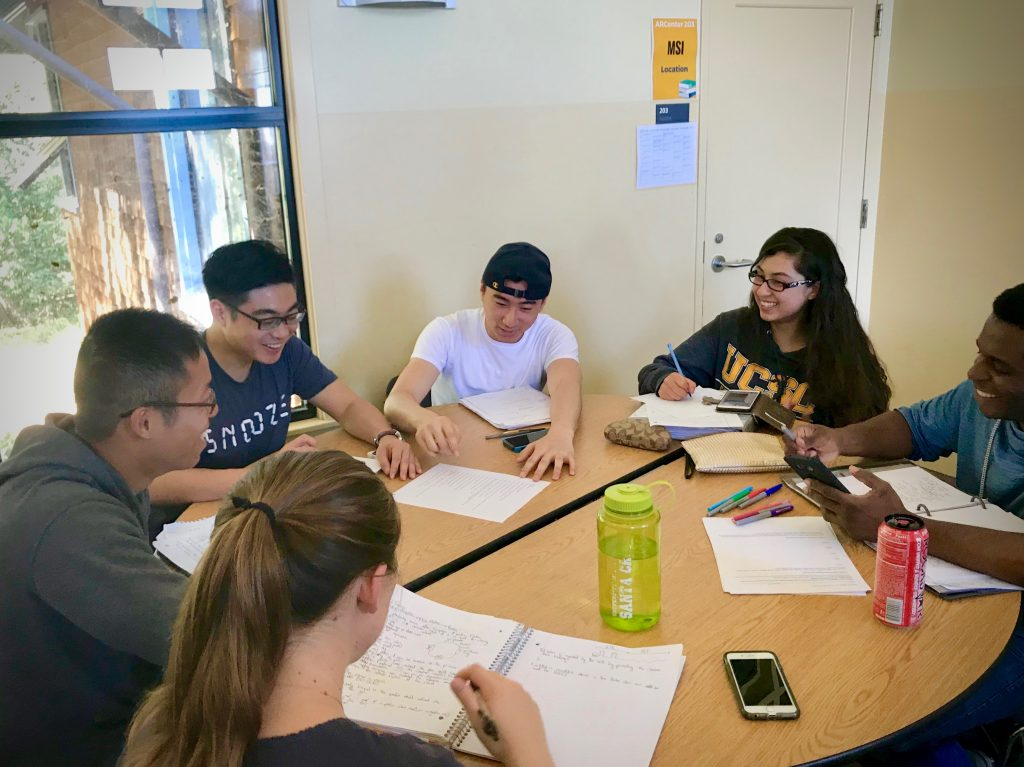 Students in a group tutoring session
