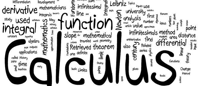 Some of the topics and terms used in calculus